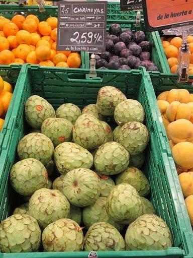 Chirimoyas in supermarket