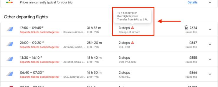 layover on google flights