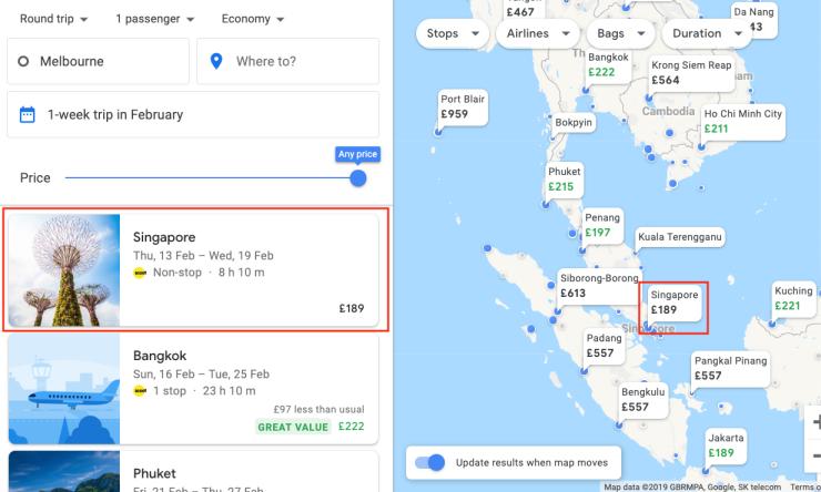 Melbourne Google Flights map