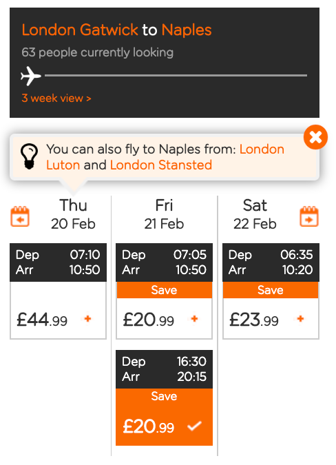 Booking page by date