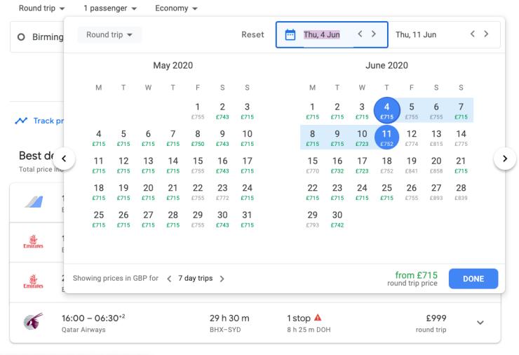 Google Flights Calendar
