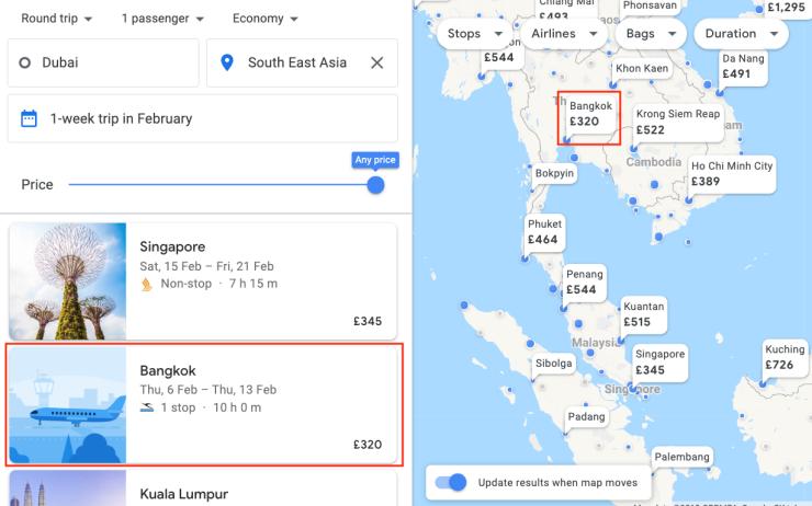 Google Flights Map