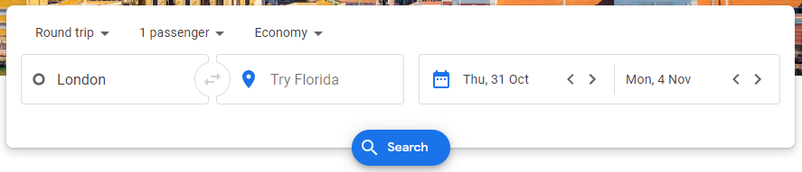Google Flights search example
