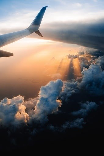 Sky view over plane